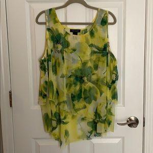 Ashley Stuart Yellow and Green Abstract Mesh Tank